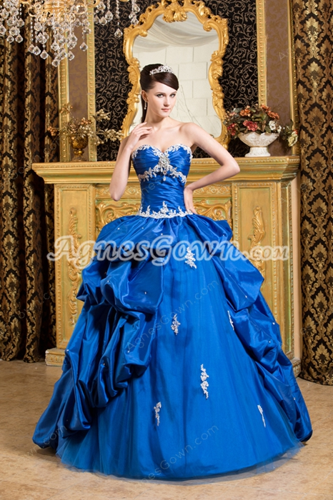 gorgeous Shallow Royal Blue Taffeta Quinceanera Dress With Short Sleeves Bolero