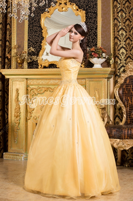 Affordable Sweetheart Ball Gown Daffodil Quinceanera Dress With Exquisite Handwork