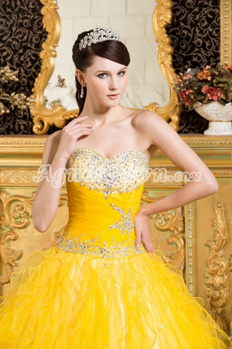 Extraordinary Colorful Yellow And Blue Tulle Rainbow Quinceanera Dress 2016