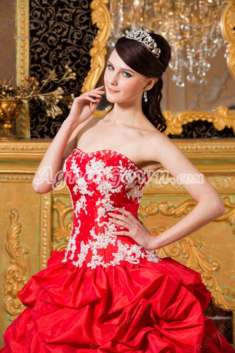 Beautiful Sweetheart Ball Gown Red Taffeta Quinceanera Dress With White Appliques