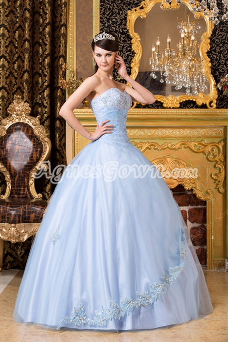 Corset Back Sweetheart Ball Gown Sky Blue Quinceanera Dress With Crystals
