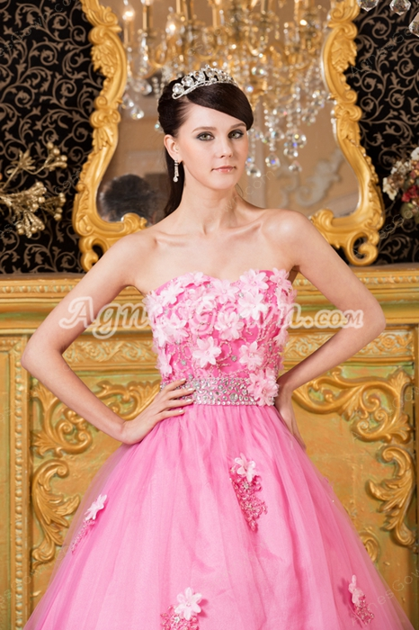 Sweetheart Puffy Pink Tulle Princess Quinceanera Dress With 3d Flowers