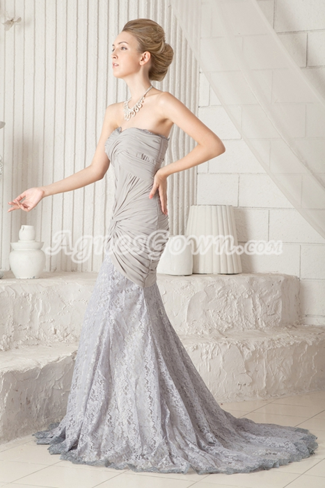 Breathtaking Sweetheart Sheath Full Length Silver Prom Dress 2016