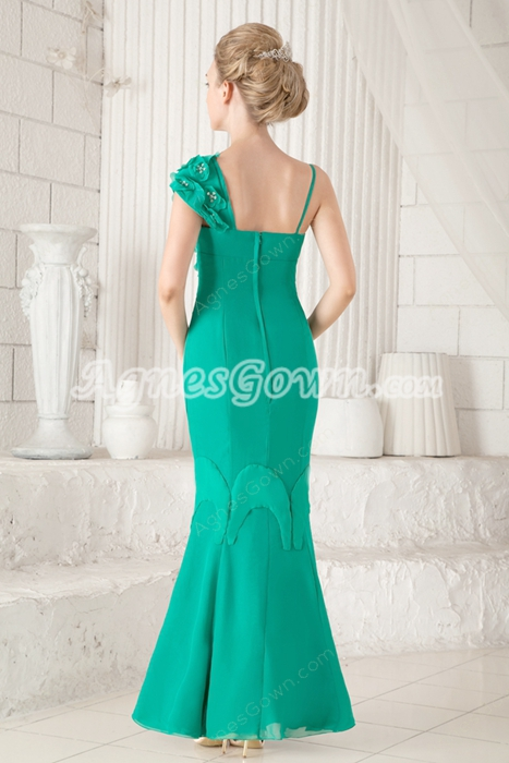 Graceful Sheath Ankle Length Green Chiffon Mother Of The Bride Dress