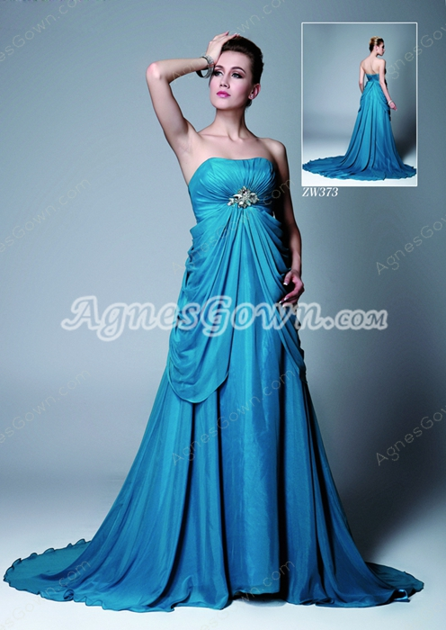 Strapless Empire Full Length Blue Chiffon Maternity Prom Dress