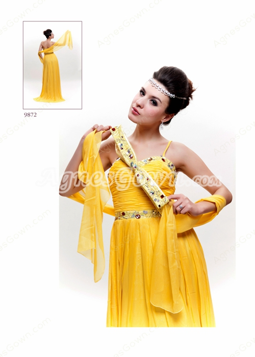 Spaghetti Straps A-line Daffodil Chiffon Formal Evening Gown
