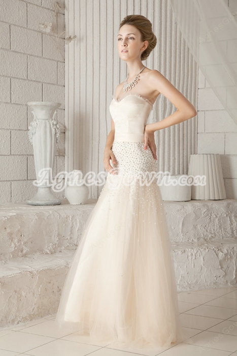 Modest Sweetheart Puffy Full Length Champagne Tulle Prom Gown