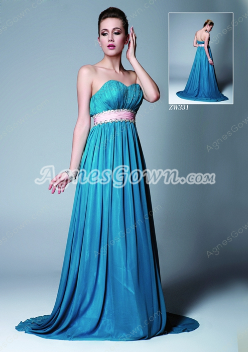Delicate Sweetheart A-line Blue Chiffon Plus Size Prom Dress