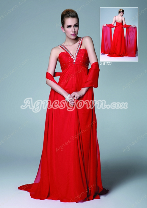 Straps Empire Full Length Red Chiffon Maternity Evening Dress
