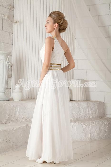 Column Floor Length White Chiffon Informal Evening Gown