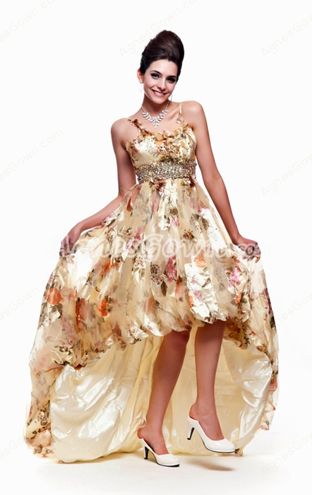 Spaghetti Straps Printed Fabric High Low Prom Dress