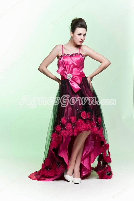 Spaghetti Straps Fuchsia And Black High Low Prom Dress