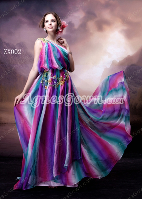 Special One Shoulder Rainbow Maxi Evening Dress
