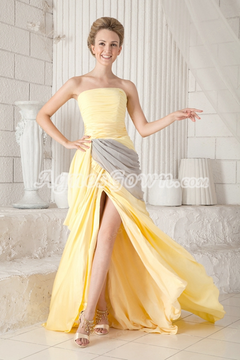 Noble Strapless Column Full Length Yellow And Gray Prom Dress