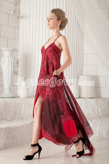 Special Spaghetti Straps Informal Evening Dress High Low Hem