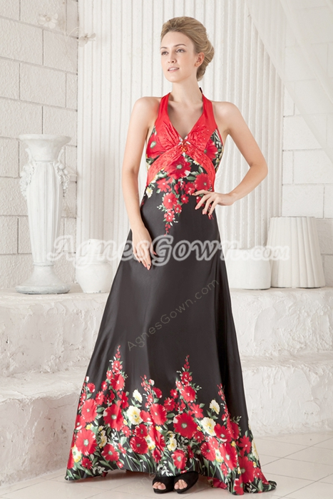 Sexy Halter A-line Printed Evening Maxi Dress Backless