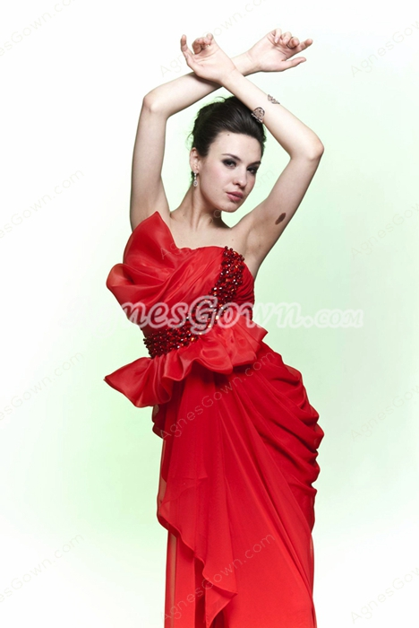 Sheath Floor Length Strapless Red Chiffon Formal Evening Dress