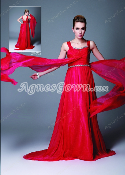 Straps A-line Full Length Red Chiffon Evening Dress With Ribbons