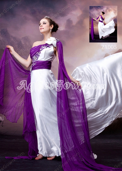 One Shoulder A-line Elastic Satin Evening Dress With Purple Sash