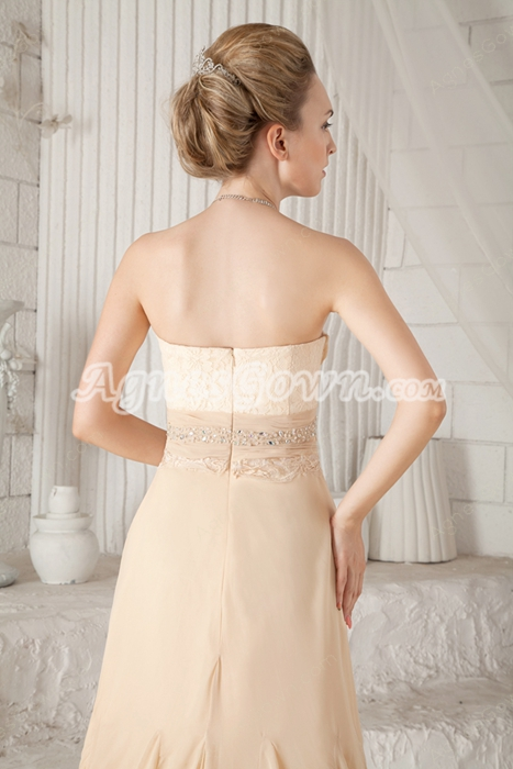 Sweetheart A-line Floor Length Champagne Chiffon Prom Dress