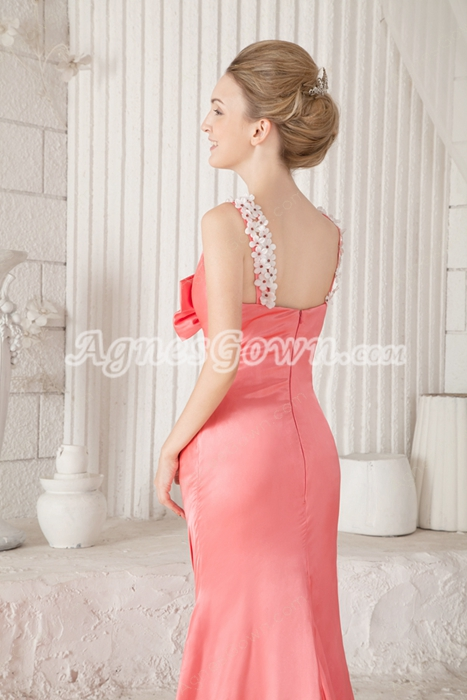 Charming Straps A-line Floor Length Watermelon Satin Prom Dress 2016