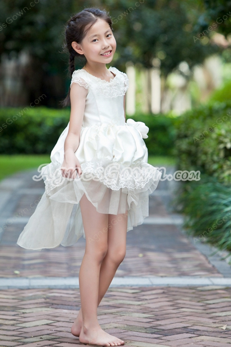 Scoop Neckline Ivory Satin And Tulle High Low Flower Girl Dress