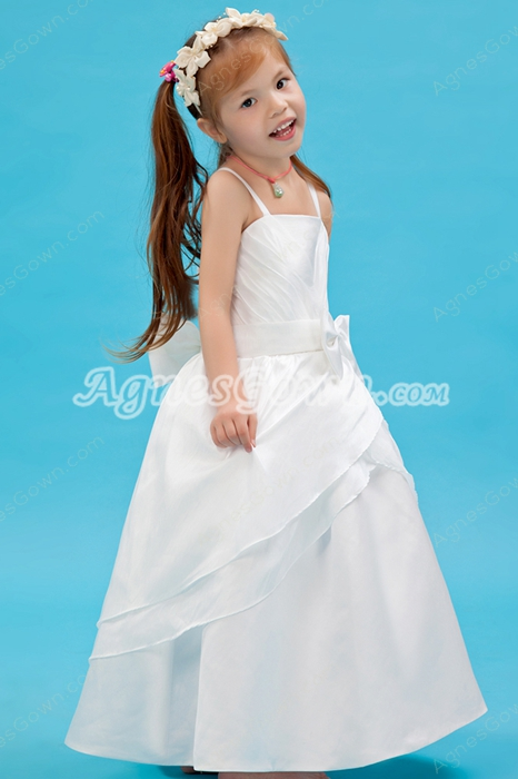 Ankle Length Spaghetti Straps Satin Infant Flower Girl Dress With Bowknot