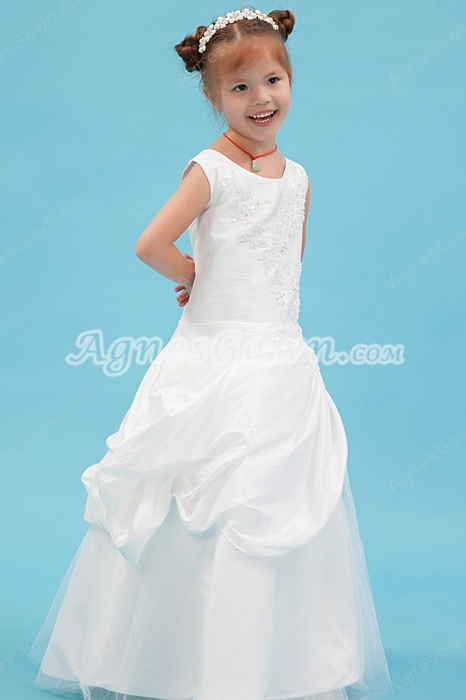 Scoop Neckline White Taffeta Puffy Flower Girl Dress Corset Back