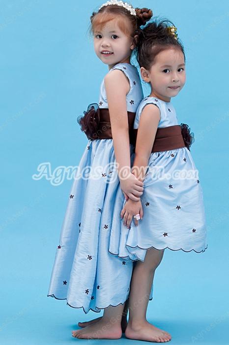 Lovely Tea Length Infant Flower Girl Dress Baby Blue