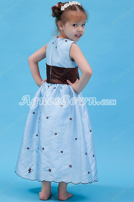 Lovely Tea Length Infant Flower Girl Dress Baby Blue