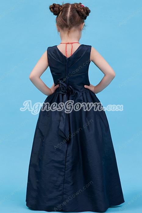 V-Neckline Full Length Dark Navy Taffeta Little Girl Pageant Dress