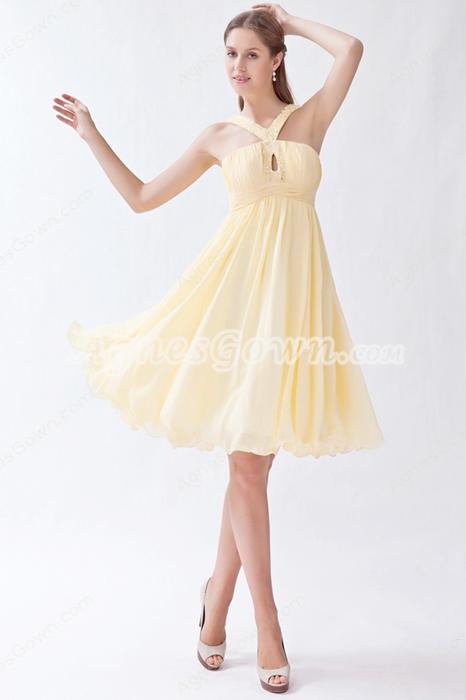 Mini Length Straps Yellow Chiffon Junior Bridesmaid Dress