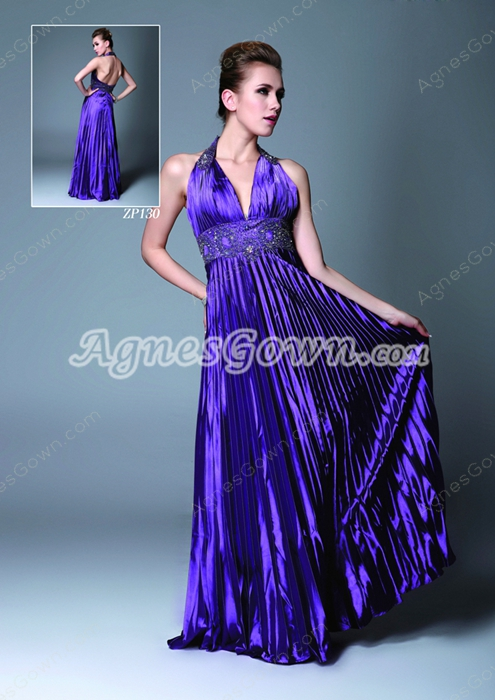 Open Back Halter Column Violet Evening Dress