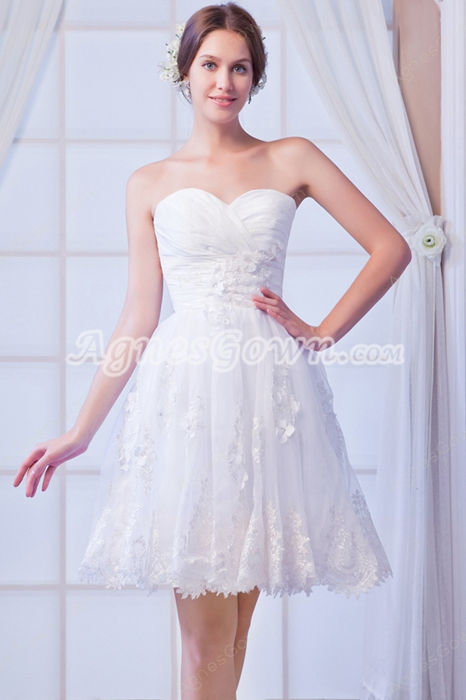 Mini Length White Tulle Sweet Sixteen Dress With Lace Appliques