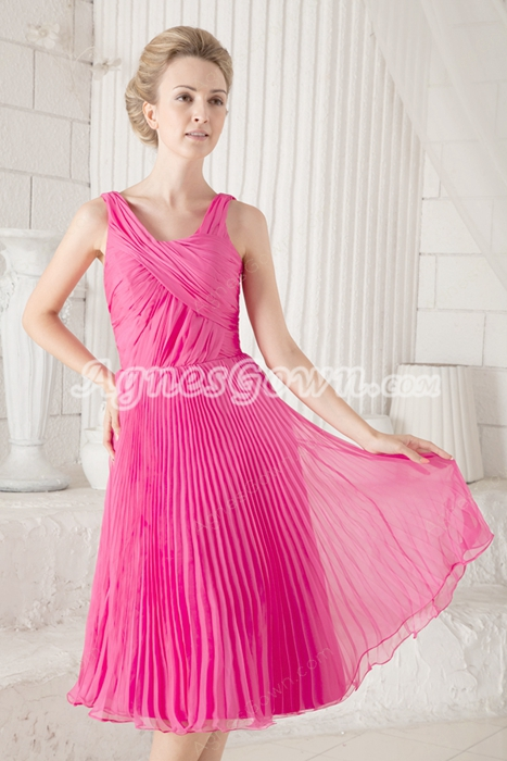 A-line Knee Length Fuchsia Chiffon Mother Of The Groom Dress