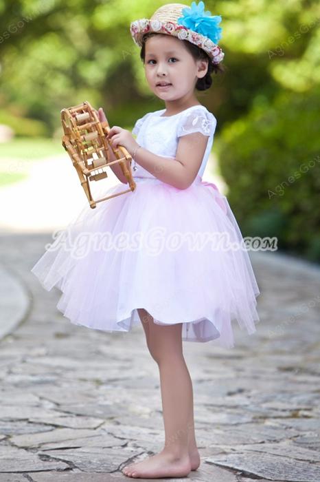Short Sleeves Mini Length Pink Tutu Infant Girl Pageant Dress