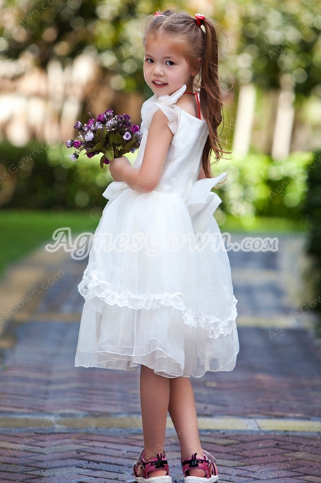 V-Neckline Ivory Organza Knee Length Little Girls Pageant Dress