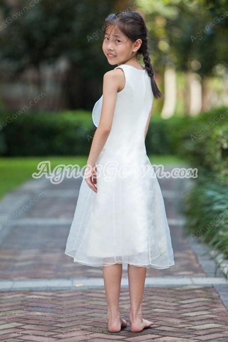 Cheap Tea Length Organza Flower Girl Dress Under 100