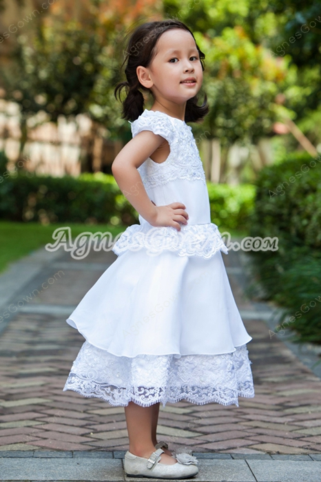 Boat Neckline Short Sleeves Tea Length Toddler Flower Girls Dress
