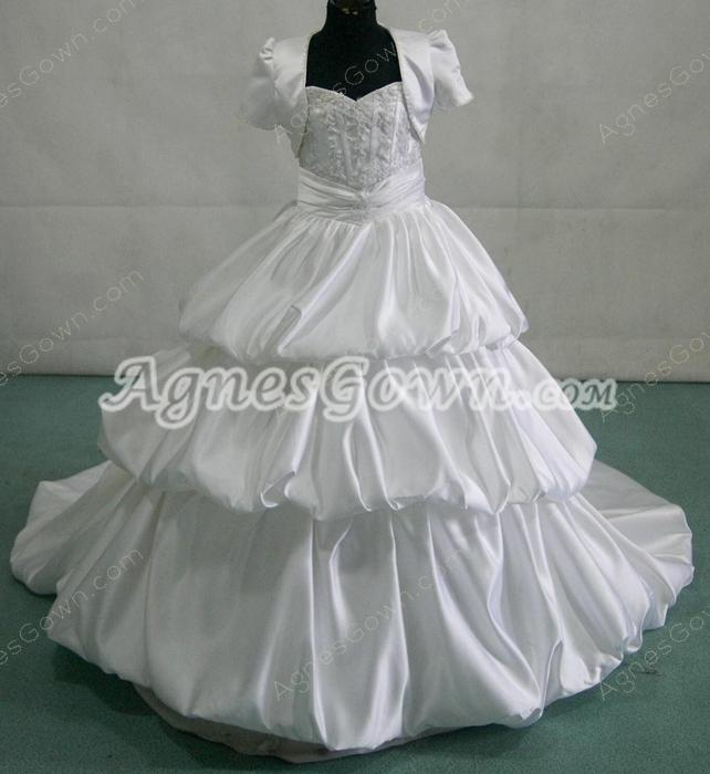Modest Mini Bridal Dresses With Short Sleeves Bolero