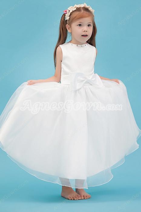 Lovely Jewel Neckline Tea Length Satin & Organza Infant Flower Girl Dress