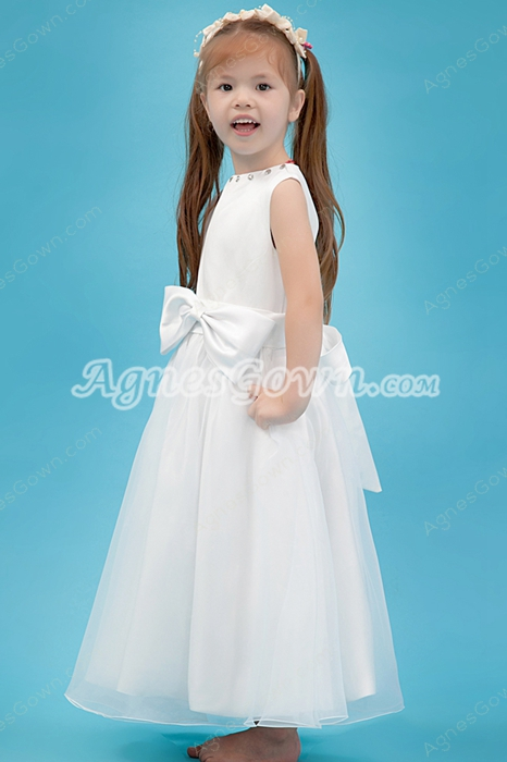 Lovely Jewel Neckline Tea Length Satin & Organza Infant Flower Girl Dress