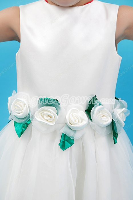 Jewel Neckline Puffy Floor Length Organza Flower Girl Dress With Flowers
