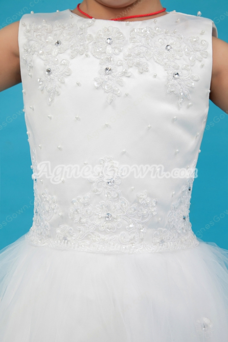 Jewel Neckline Tutu Flower Girl Dress With Great Handwork