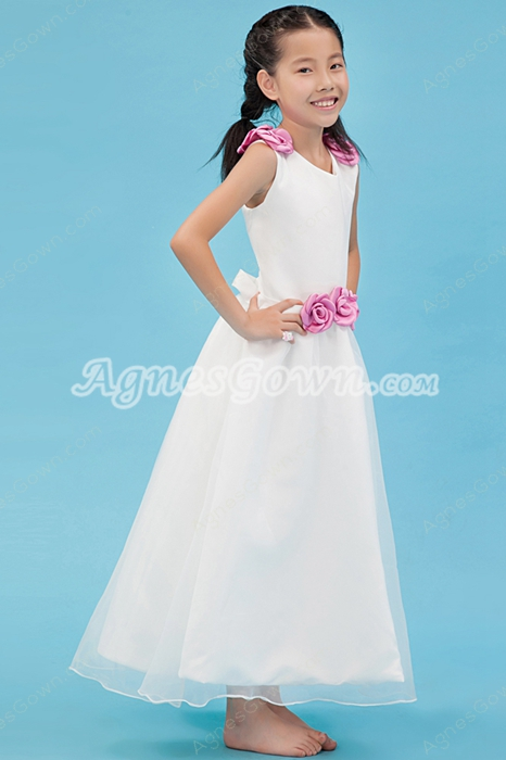 V-Neckline Ankle Length Organza Flower Girl Dress With Pink Flowers