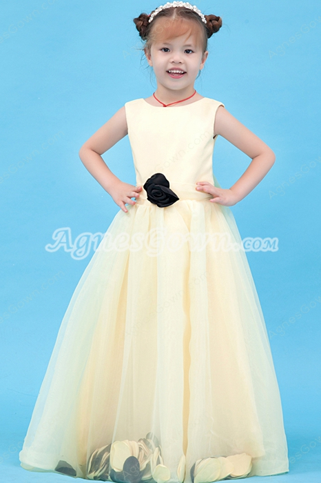 Jewel Neckline Puffy Full Length Pale Yellow Girls Pageant Dress