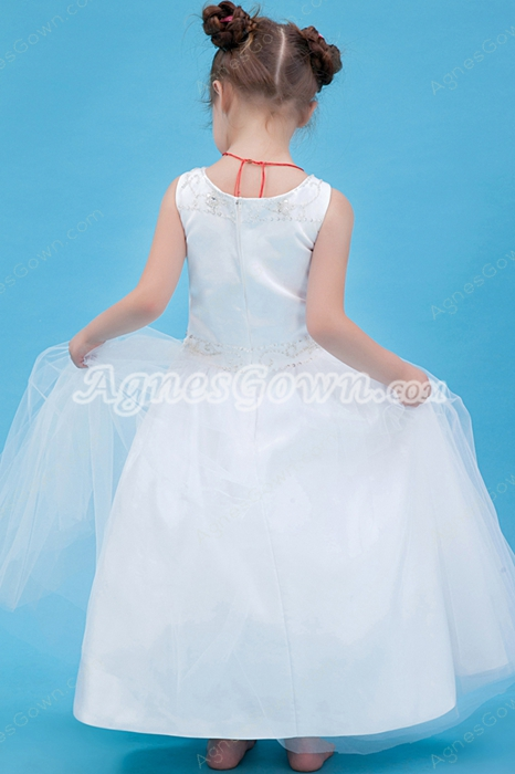 Scoop Neckline White Tulle Ball Gown Flower Girl Dress
