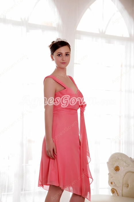 Beautiful Straps A-line Knee Length Watermelon Chiffon Junior Prom Dress