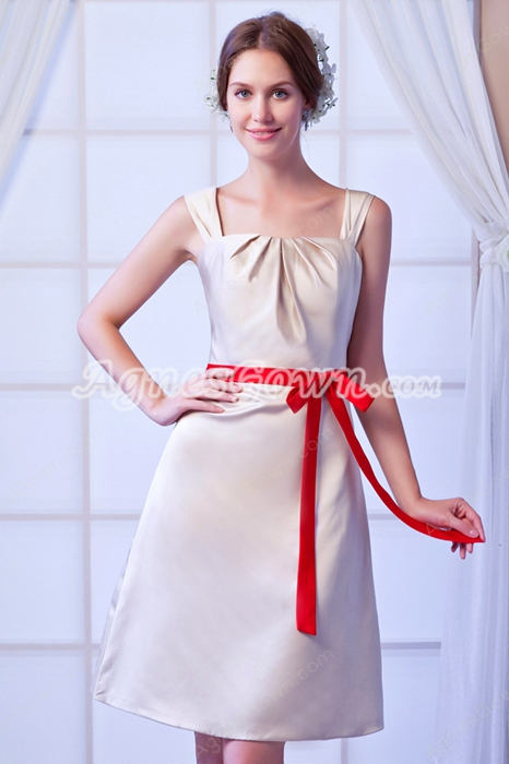 Mini Length Champagne Satin Bridesmaid Dress