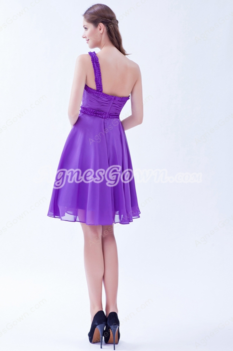 One Shoulder A-line Violet Chiffon Junior Bridesmaid Dress